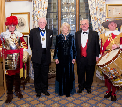 Master of the Vintners' Company, Sir Andrew Parmely, HRH The Duchess of Cornwall and on the right is WineGB Chairman, Simon Robinson.