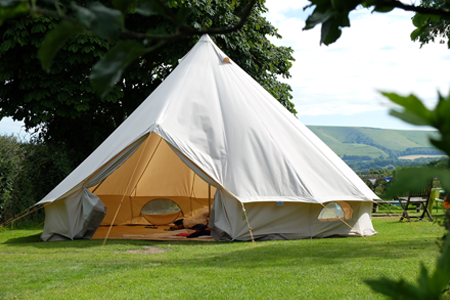 Large tent in English countryside