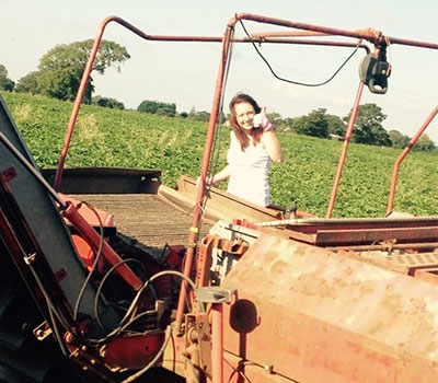 Owd Barn farm diversification – Helen with a tractor