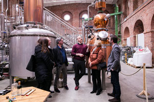 People enjoying their Dockyard Gin distillery tour